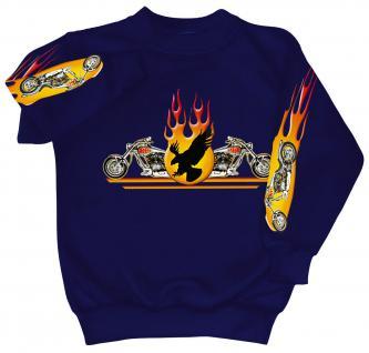 Sweatshirt mit Print - Chopper Flammen Eagle - 10117 - versch. farben zur Wahl - blau / L
