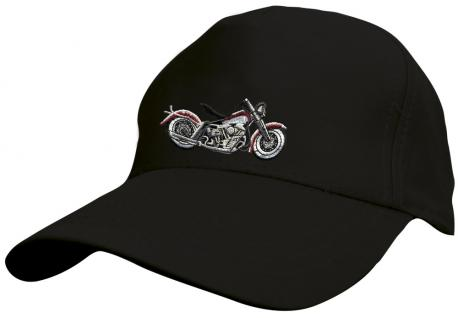 Kinder Baseballcap mit Stickmotiv - Chopper Bike Motorrad - 69129 versch. Farben schwarz - Vorschau
