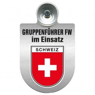 Einsatzschild Windschutzscheibe incl. Saugnapf - Gruppenführer Feuerwehr im Einsatz - 309750 Region Schweiz