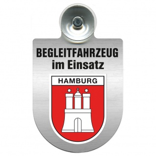Einsatzschild Windschutzscheibe incl. Saugnapf - Begleitfahrzeug im Einsatz - 309457 - Region Hamburg