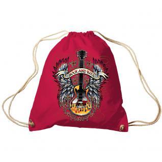Trend-Bag Turnbeutel Sporttasche Rucksack mit Print - Rock and Roll - TB65303 rot