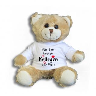 Teddybär mit Shirt - Für den besten Kollegen der Welt - Größe ca 26cm - 27175 hellbraun