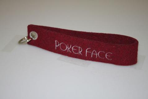 Filz-Schlüsselanhänger mit Stick - Poker Face - Gr. ca. 17x3cm - 14427