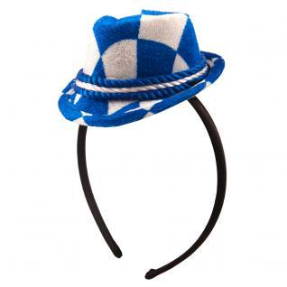 Mini- Hut mit Haar-Reif und blau- weißen Rauten 61202
