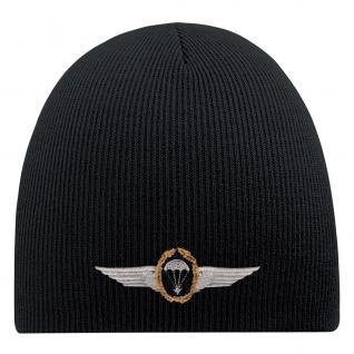 Beanie-Mütze mit Einstickung ? Fallschirm Emblem Abzeichen ? 55613 Schwarz
