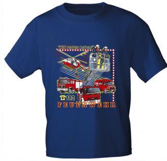 Kinder T-Shirt mit Print - Wir retten Leben - Feuerwehr 112 - 06964 - royalblau - Gr. 98/104