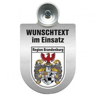 Einsatzschild für Windschutzscheibe incl. Saugnapf - Wunschtext...Eigener Text - Wappen nach Wahl - 309470 Region Brandenburg