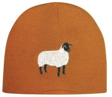 Beanie-Mütze mit Einstickung - SCHAF - 54502 orange