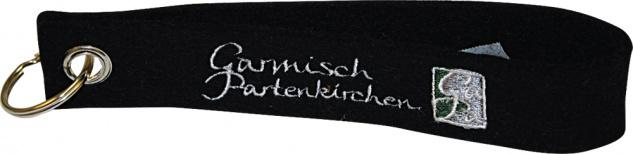 Filz-Schlüsselanhänger mit Stick Garmisch Partenkirchen Gr. ca. 17 x 3cm 14238 schwarz
