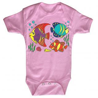 Baby-Body mit Druckmotiv Fische in 4 Farben und 4 Größen B12779 rosa / 0-6 Monate