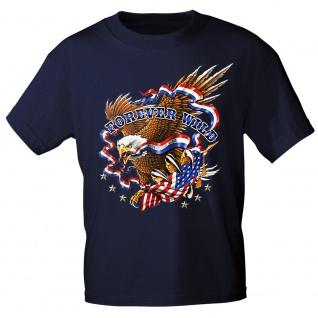 T-Shirt mit Print - Adler American Flag Forever Wild 12984 dunkelblau Gr. S