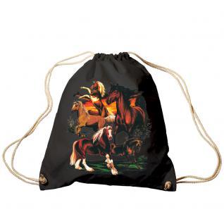 Trend-Bag Turnbeutel Sporttasche Rucksack mit Print - Pferde - TB12667 schwarz