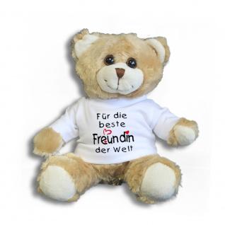 Teddybär mit Shirt - Für die beste Freundin der Welt - Größe ca 26cm - 27046 hellbraun