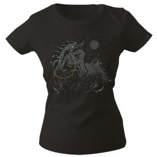 Girly-Shirt mit Strasssteinen Glitzer Pferd Horse Stute G88332 Gr. schwarz / M