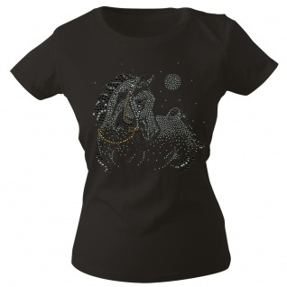 Girly-Shirt mit Strasssteinen Glitzer Pferd Horse Stute G88332 Gr. schwarz / XL