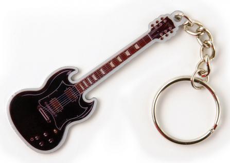Metall- Schlüsselanhänger mit brillantem Motiv - Black Guitar - Gr. ca. 11x4cm - 13288