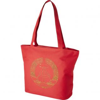 Lifestyle-Tasche mit Einstickung DDR Emblem Abzeichen Ostalgie 15509 rot designed bye Ticiana Montabri