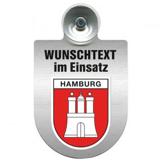 Einsatzschild für Windschutzscheibe incl. Saugnapf - Wunschtext...Eigener Text - Wappen nach Wahl - 309470 Region Hamburg