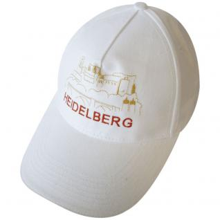 BaseballCap mit großem Stick - Heidelberg - 68828 weiss - Baumwollcap Schirmmütze Cappy Kappe Cap