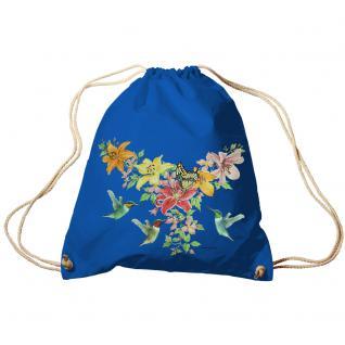 Trend-Bag Turnbeutel Sporttasche Rucksack mit Print -Blumen und Schmetterlinge - TB09844 Royal