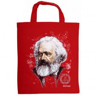 Baumwolltasche mit Print - Karl Marx - 08950 rot - Gr. ca. 38 x 42 cm