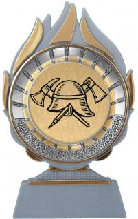 (70053) Kunstoffständer mit Feuerwehr- Emblem/ Pokal mit Feuerwehr- Emblem ca. 9 x 15cm