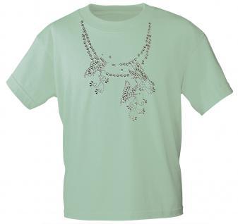 (12852) T- Shirt mit Glitzersteinen Gr. S - XXL in 13 Farben M / mint