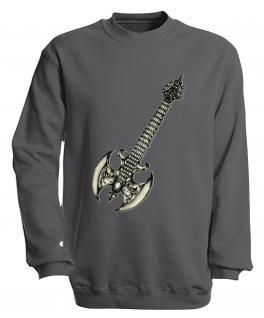 Sweatshirt mit Print - Guitar - S10252 - versch. farben zur Wahl - Gr. grau / L