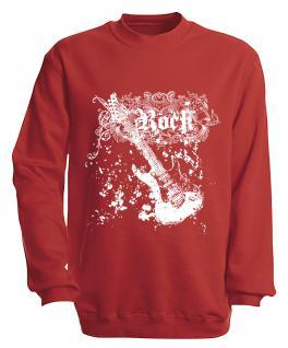Sweatshirt mit Print - Rock - S10255 - versch. farben zur Wahl - Gr. rot / M