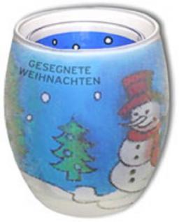 3D Kerzenglas 9 cm Schneemann Gesegnete Weihnachten Weihnachtsgeschenk 5013