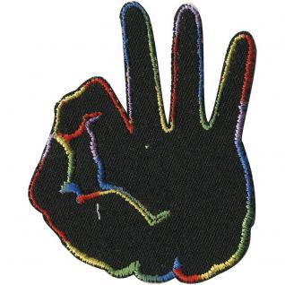 Aufnäher - Handzeichen - 01931 - Gr. ca. 6, 5 x 5, 5 cm - Patches Stick Applikation