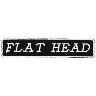 Applikation Patches Emblem Aufnäher Spruch - FLAT HEAD - Gr. ca. 10cm x 2cm (03241) Bike Chopper Trucker Motorrad Kutte Jacke