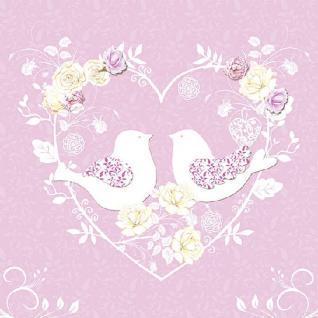 Servietten 20er Set - TISSUE mit Motiv - Vögel Herz rosa- 33711 Gr. ca. 33x33cm
