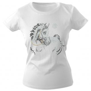 Girly-Shirt mit Strasssteinen Glitzer Pferd Horse Stute G88332 Gr. weiß / L