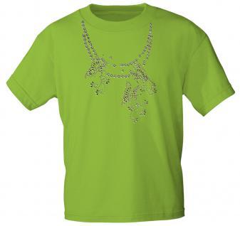 (12852) T- Shirt mit Glitzersteinen Gr. S - XXL in 13 Farben grün / XL