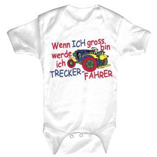 Babystrampler mit Print - Wenn ich groß bin werde ich Trecker-Fahrer - 08310 weiß - Gr. 0-24 Monate