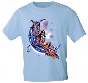 T-Shirt mit Print - Fee im Mond - 10899 - versch. Farben zur Wahl - Gr. S-2XL hellblau / L