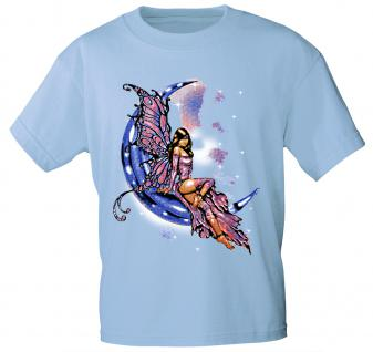 T-Shirt mit Print - Fee im Mond - 10899 - versch. Farben zur Wahl - Gr. S-2XL hellblau / XL