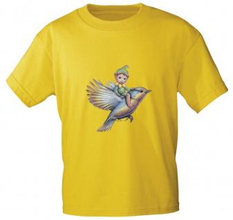 Kinder T-Shirt mit Print Elfchen auf Vogel 12442 Gr. gelb / 134/146