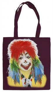 """(08847/1) Karnevals- Stofftasche mit Druck """" Clown"""" in 4 farben"""