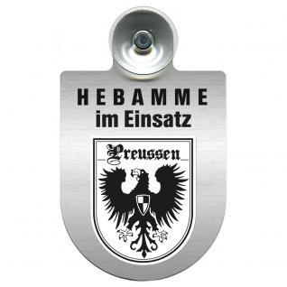 Einsatzschild Windschutzscheibe incl. Saugnapf -Hebamme im Einsatz - 309357-19 - Region Preussen