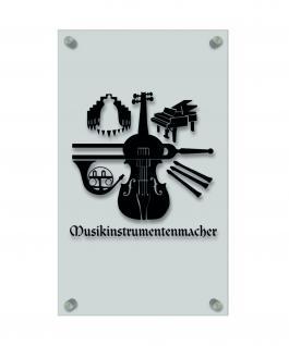 Zunft- Schild, edle Acryl-Kunststoff-Platte mit Beschriftung - Musikinstrumentenmacher- in gold, silber, schwarz oder weiß - 309404 Farbe schwarz
