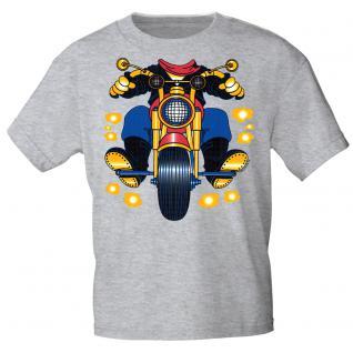 Kinder Marken-T-Shirt mit Motivdruck in 13 Farben Motorrad K12780 98/104 / grau