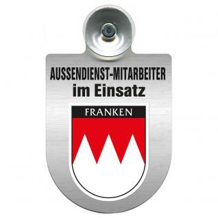 Einsatzschild Windschutzscheibe incl. Saugnapf - Außendienstmitarbeiter im Einsatz - 309366-18 - Region Franken
