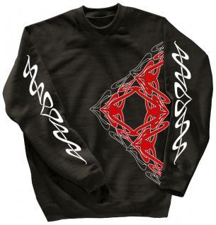 Sweatshirt mit Print - Tattoo - 10118 - versch. farben zur Wahl - schwarz / S