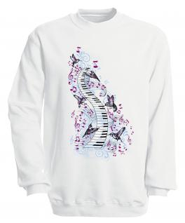 S-Shirt mit Print - Klavier - 09018 - versch. farben zur Wahl - Gr. weiß / M