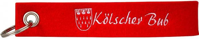 "(14434) Filz-Schlüsselanhänger mit Stick "" Kölscher Bub "" Gr. ca. 17x3cm rot"