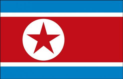 Schwenkflagge mit Holzstock - Nordkorea - Gr. ca. 40x30cm - 77122 - Länderflagge, Hissfahne, Stockländerfahne