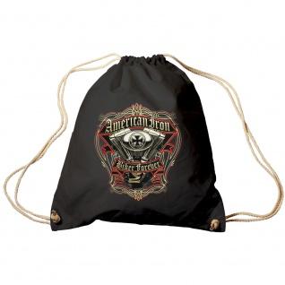 Sporttasche Turnbeutel Trend-Bag Print American Iron Biker Forever TB15701 schwarz