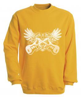 Sweatshirt - Rock´n Roll - S10248 - versch. farben zur Wahl - Gr. S-XXL gelb / XL